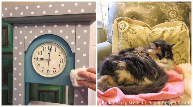 Buffing with Soft Wax on Grandfather Clock Makeover with Stencils | Small Polka Party Stencil by Royal Design Studio