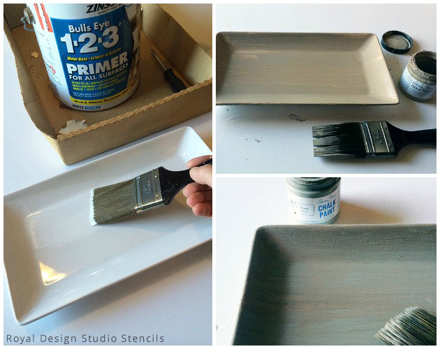 Painting with Chalk Paint® by Annie Sloan on Ceramic Tray for Key Holder DIY | Royal Design Studio Stencils