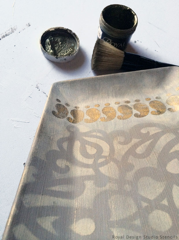 Applying Antique Gold Stencil Creme to Key Holder DIY | Royal Design Studio Stencils