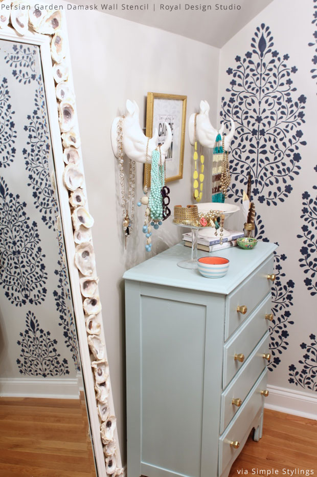Walk-in Closet Makeover via Simple Stylings | Persian Garden Damask Stencil by Royal Design Studio