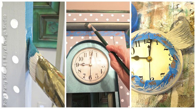 Layering-with-Chalk-Paint® for Grandfather Clock Makeover with Stencils | Small Polka Party Stencil by Royal Design Studio