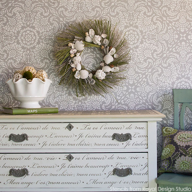 Gorgeous French love lettering stencil and lace stencil from Royal Design Studio