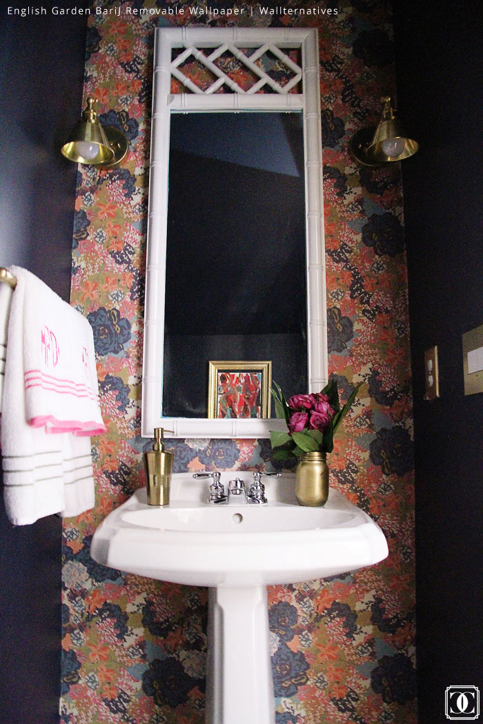 Bath Makeover via Charming in Charlotte | English Garden Bar J. Removable Wallpaper by Wallternatives