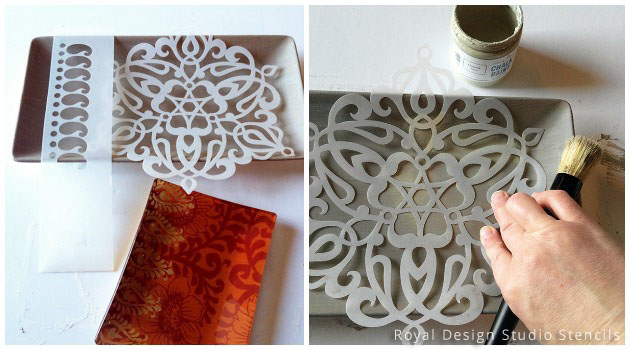 Key Holder Stencil DIY | Ankara Medallion Stencil by Royal Design Studio