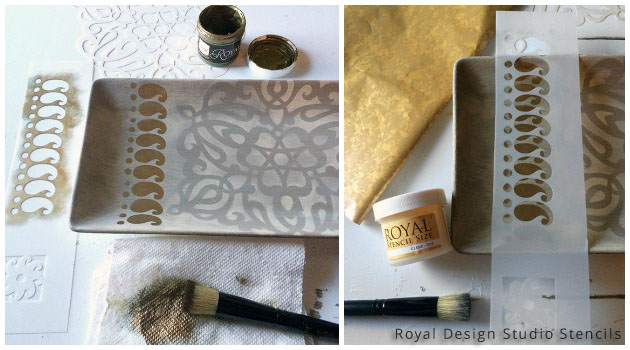 Key Holder Stencil DIY | Paisley Stencil from Sari Border Series by Royal Design Studio
