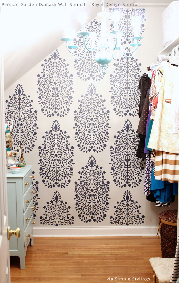 DIY Closet Makeover using Persian Garden Floral Damask Wall Stencils from Royal Design Studio