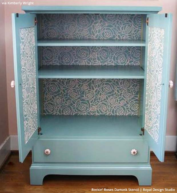 Stenciled Drawers are Great Painted Furniture Ideas