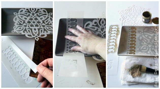 Stencil tips for a non-flat surface | Royal Design Studio Stencils