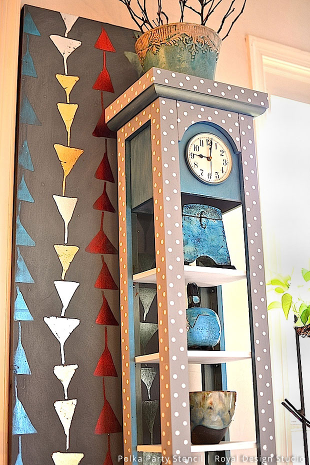 Stenciled-Clock-Makeover