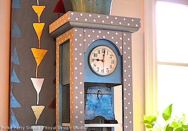 Revamp A Grandfather Clock With Stencils Paint Pattern