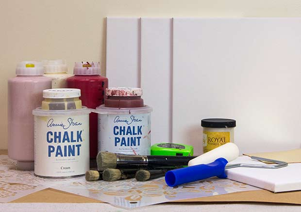 Stencil supplies to create stenciled wall art from Royal Design Studio