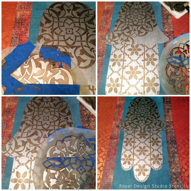 Hamsa Wall Art with Stencils and Scrapbook Paper | Stencils by Royal Design Studio