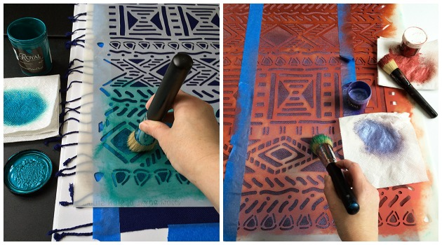 Stenciling on Woven Scarf