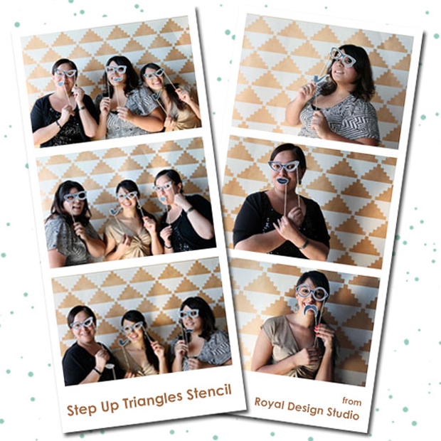 Stencil a wedding photo booth | Step Up Triangles Stencil by Royal Design Studio