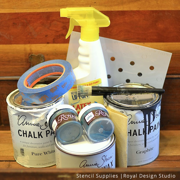Stencil Supplies for Grandfather Clock Makeover | Royal Design Studio