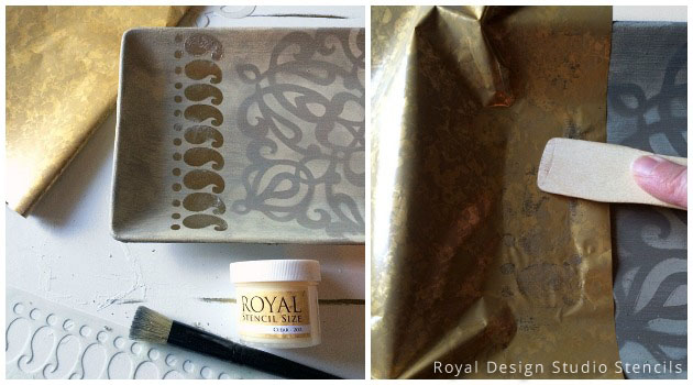 Metal Foil Application for Key Holder Stencil DIY | Royal Design Studio Stencils