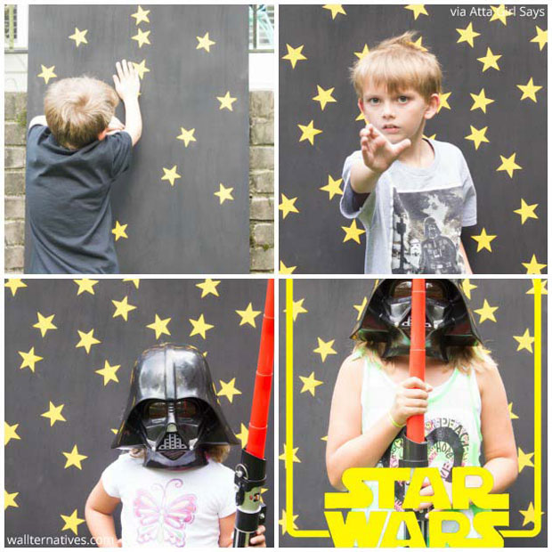 Wallternatives pattern pack minis wall decals create a Star Wars Backdrop | Stars Vinyl Pattern Pack Minis by Wallternatives