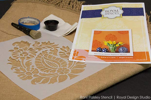 Tutorial on how to stencil burlap. Stenciled tablecloths with stencils from Royal Design Studio