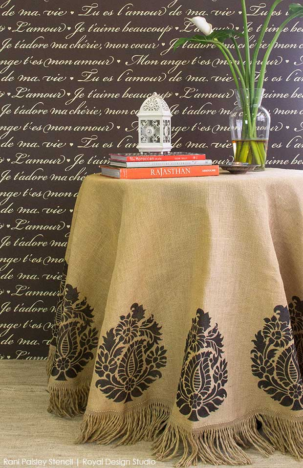 Stenciled burlap tablecloth with Indian Paisley motif stencil from Royal Design Studio. Easy stencil tutorial!