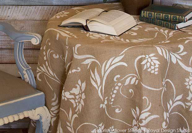 How To Stencil Burlap Two Stenciled Tablecloth Projects