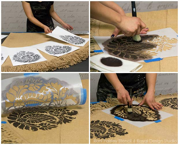 How to stencil a round burlap tablecloth with an Indian paisley stencil from Royal Design Studio.
