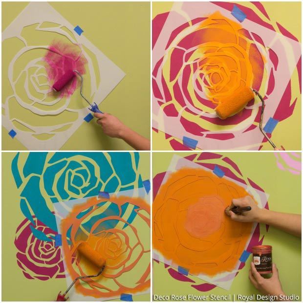 How to layer rose stencils to create a colorful wall finish on Paint + Pattern