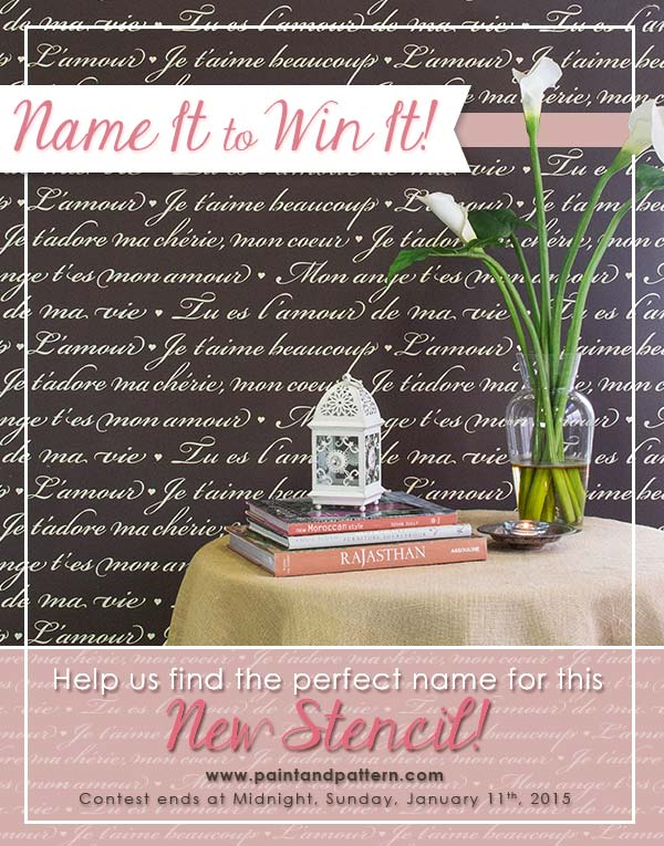 Name it to Win it - French Love Letters Stencil by Royal Design Studio