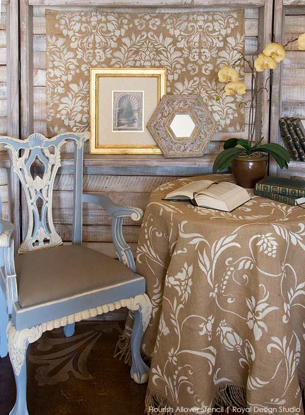 How to stencil burlap with Chalk Paint and stencils from Royal Design Studio. Stencil tablecloths, curtains, pillows, crafts easily