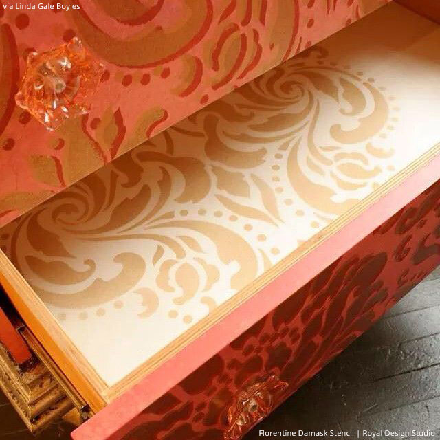 Stenciled Dresser Drawer Liners using Classic Furniture Stencils