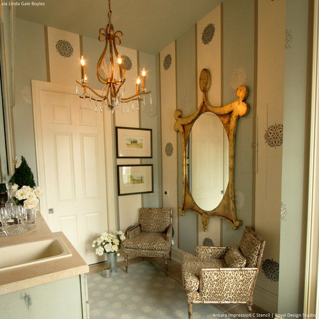 Elegant bathroom wall finish using wall stencils from Royal Design Studio