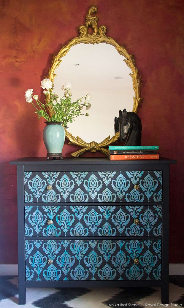 Ikat stencil IKEA furniture hack on Hermes Dresser. Ikat pattern stencil from Royal Design Studio
