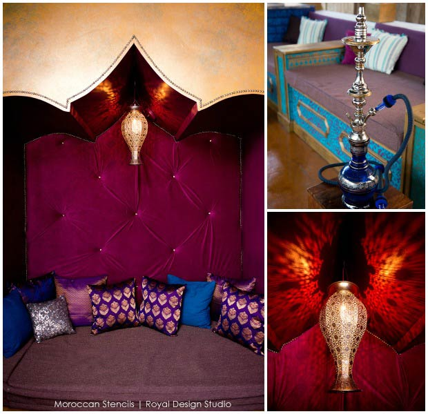 Moroccan Inspired stenciling at Priya Lounge, Charleston. Royal Design Studio stencils