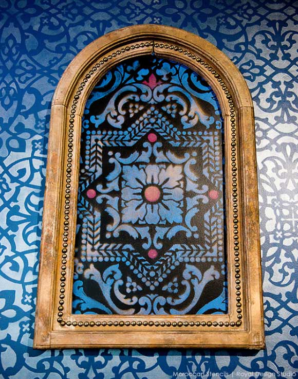 Moroccan Inspired stenciling at Priya Lounge, Charleston. Stencil by Royal Design Studio