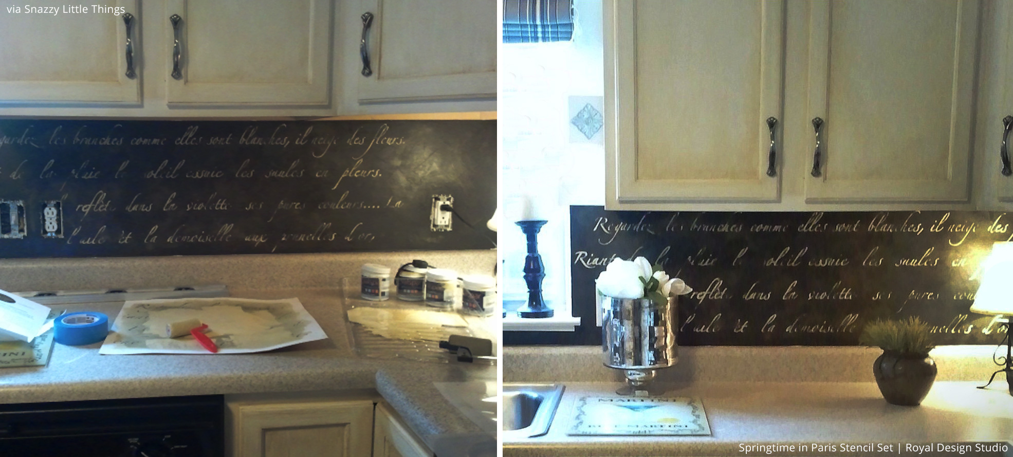 6 trendy wall decorating ideas with lettering stencils paint paint your kitchen backsplash with lettering stencils royal design studio wall stencils amipublicfo Image collections