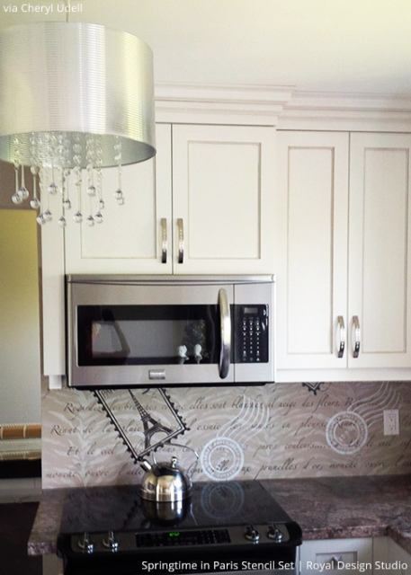 DIY Kitchen Backsplash with Wall Stencils and Lettering Stencils - Royal Design Studio