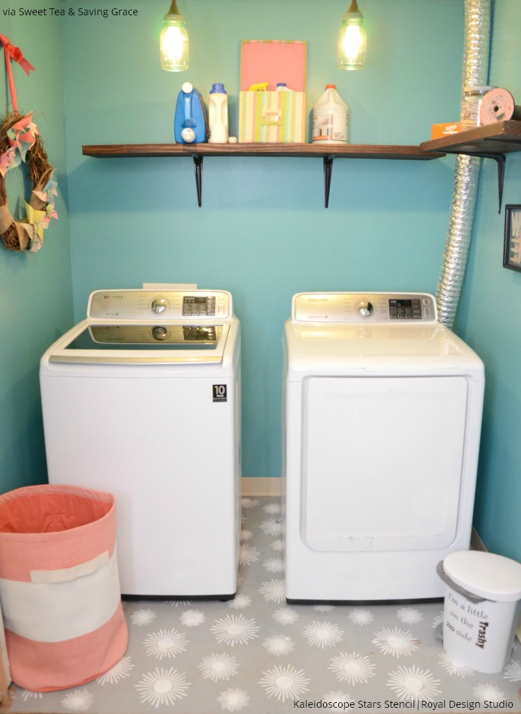 Laundry Room Makeover with Concrete Floor Stencils - Royal Design Studio