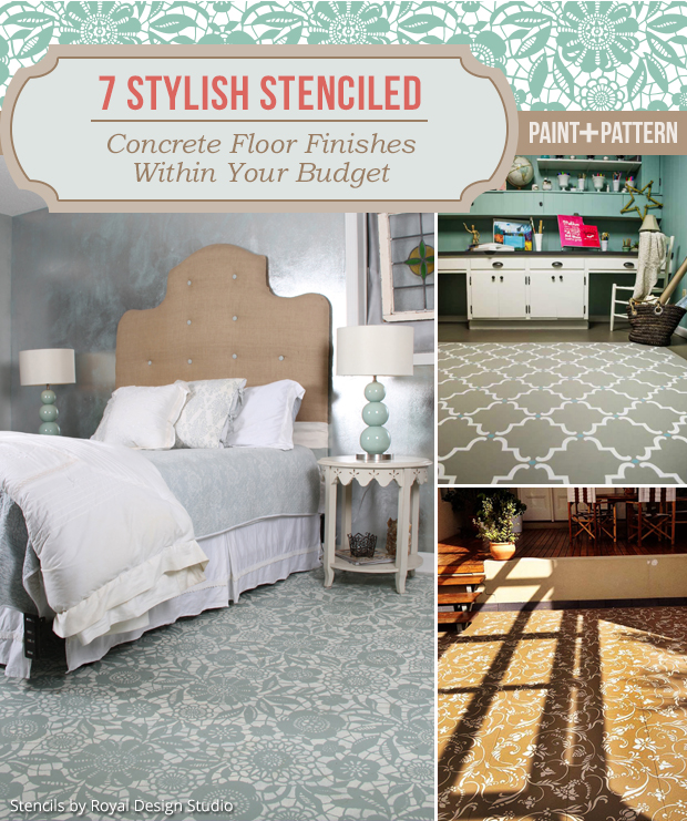 7 Jaw Dropping DIY Stenciled Concrete Floor Finishes using Royal Design Studio