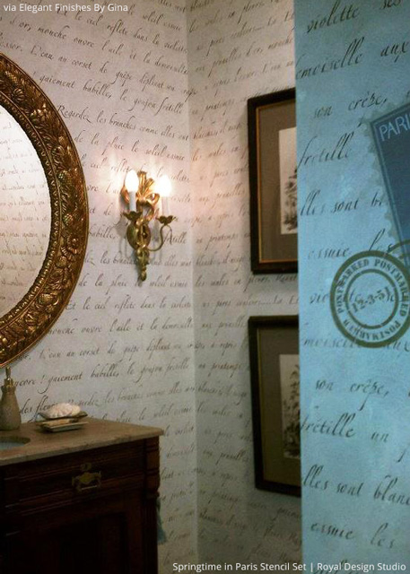 Create a French quote wallpaper effect with lettering stencils from Royal Design Studio