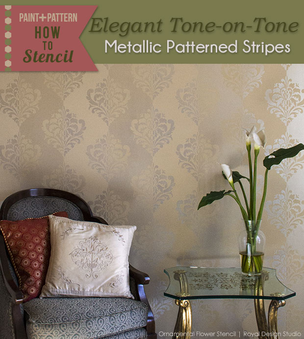 How to stencil a tone on tone wall finish with stencils and metallic glaze