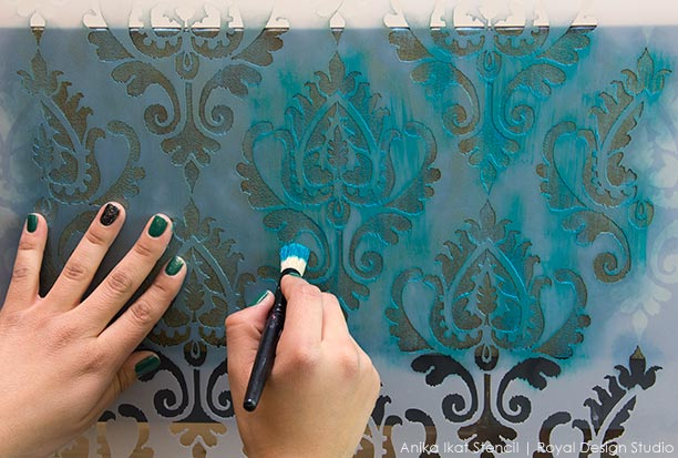 IKEA Ikat Stencil Hack. How to create the look of Ikat fabric with stencils