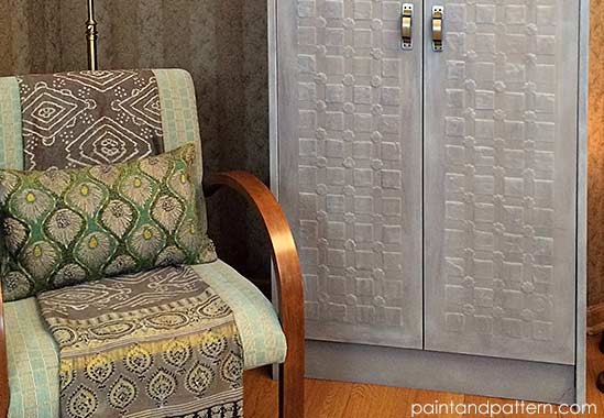 From Modern To Antique Armoire With Stencil Embossing