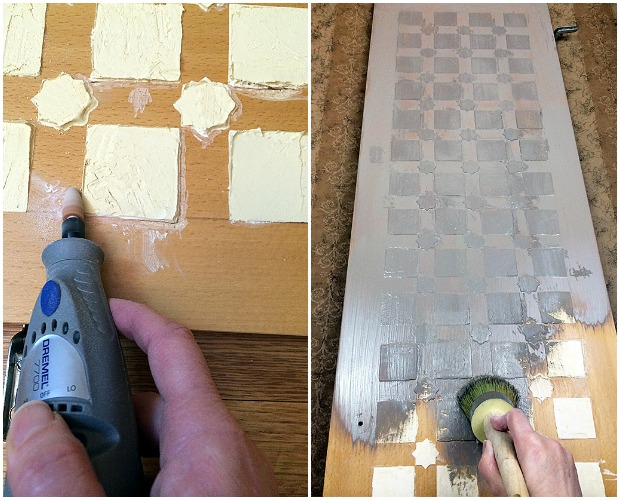 Stencil embossing before and after project. How to on Paint and Pattern