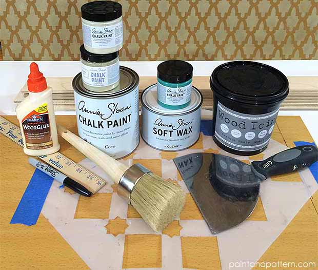 Stencil supplies for stencil embossing furniture painting project on Paint and Pattern