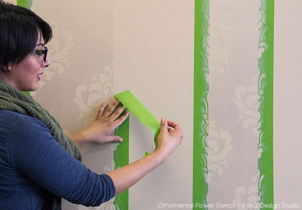 How to stencil a metallic wall finish with tone on tone patterned stripes