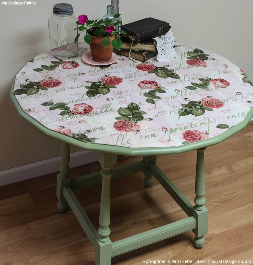 Decoupage Stenciled Table for vintage look - 10 furniture painting ideas to transform your table with lettering stencils