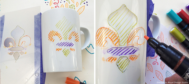 Fun DIY - Stenciling Crafts and Coffee Mugs with Patterns - Royal Design Studio