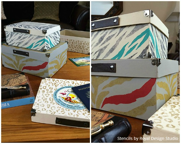 Flocking and Stencils - DIY Safari Animal Print Boxes for Fierce Office Decor
