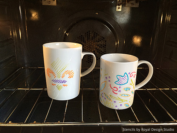 How to craft and paint coffee cups with stencils - Royal Design Studio stencil tutorial