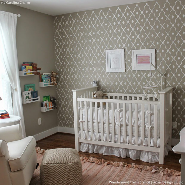 Neutral Nursery Stencils on Accent Wall - Royal Design Studio Baby Room Decor