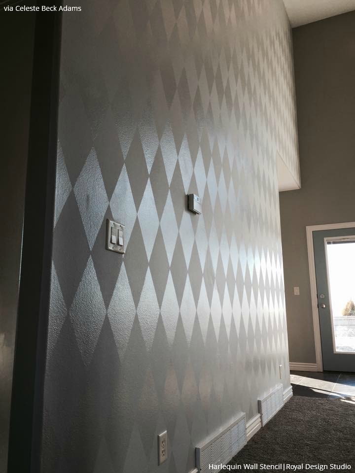 For a neutral look, stencils your walls with tone on tone and harlequin patterns - See these popular trendy stenciled walls ideas from Royal Design Studio